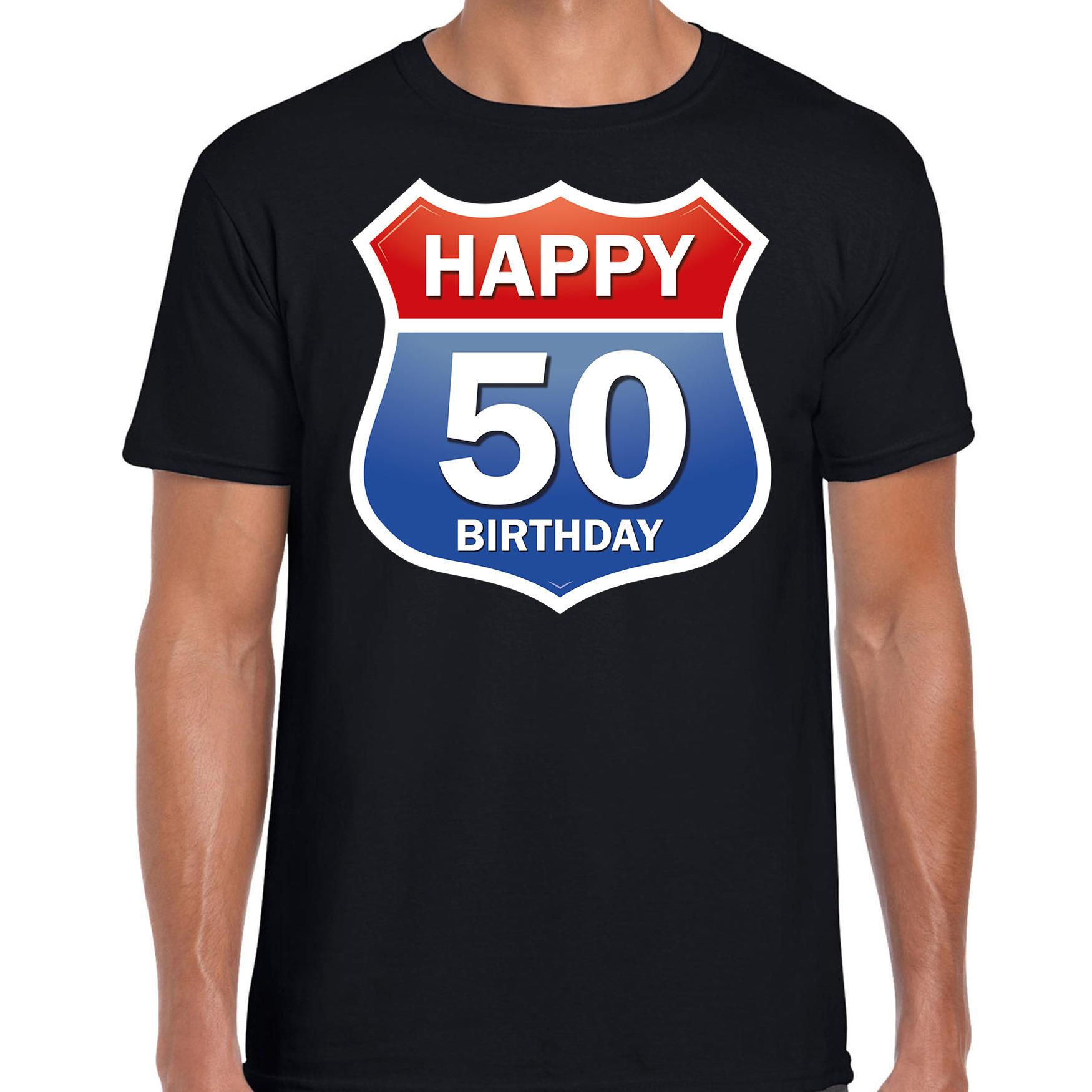 50e verjaardag Happy Birthday shirt / kleding route bord 50 jaar / Abraham zwart
