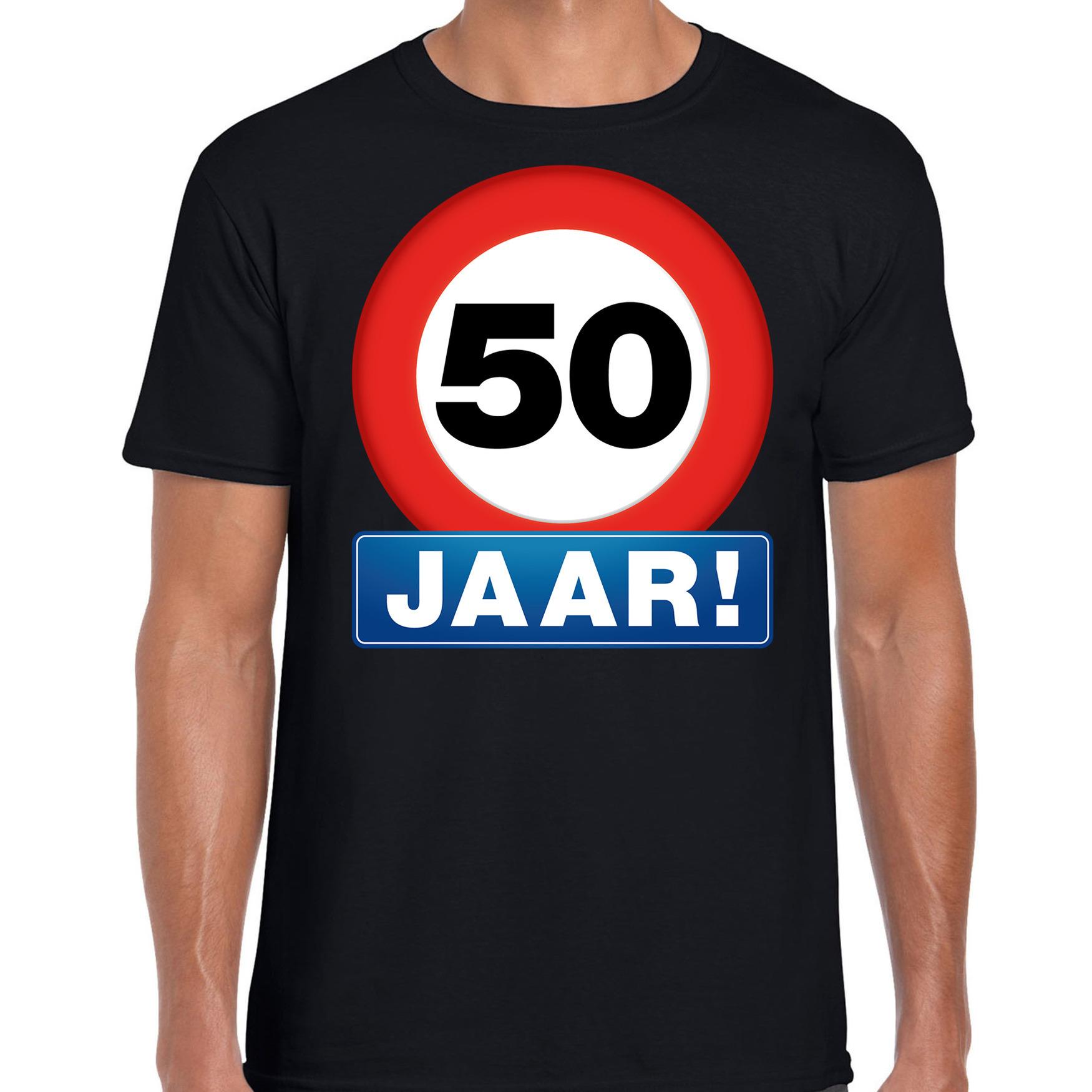50e verjaardag stopbord shirt / kleding 50 jaar Abraham zwart voor heren S -