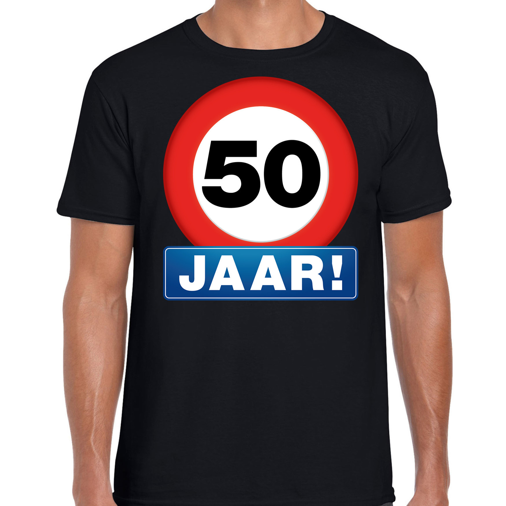 50e verjaardag stopbord shirt / kleding 50 jaar Abraham zwart voor heren L - Fee