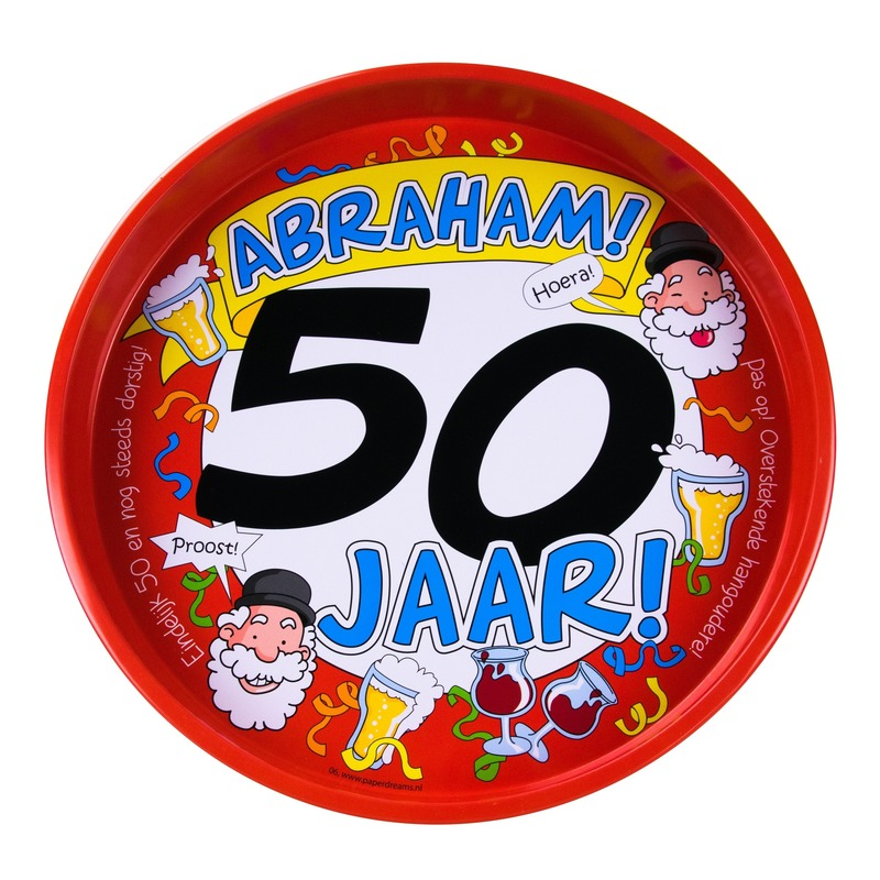 Feest metalen dienblad 50 jaar Abraham 30 cm Multi