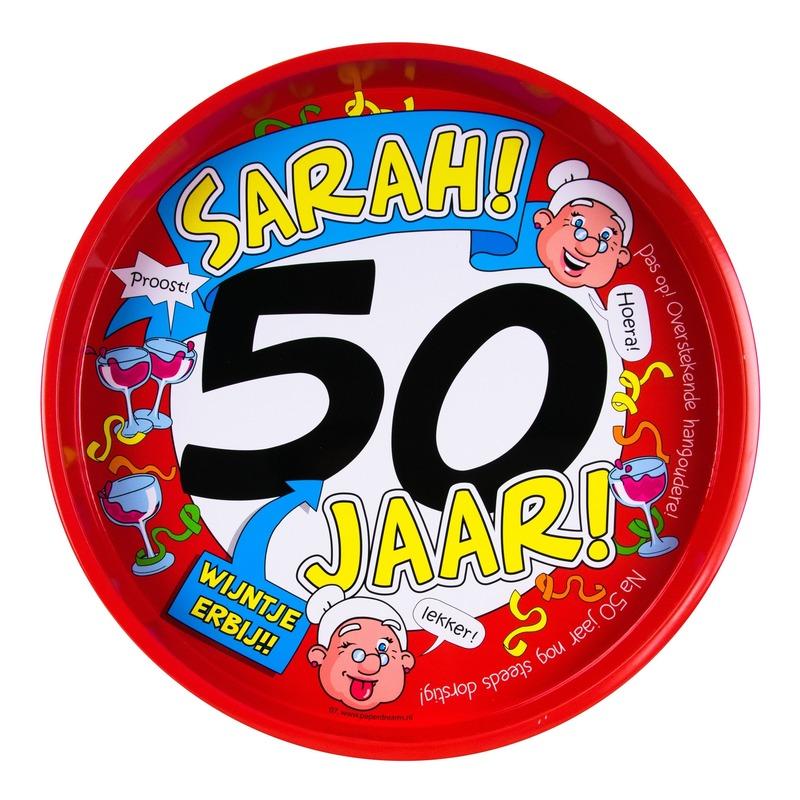 Feest metalen dienblad 50 jaar Sarah 30 cm Multi