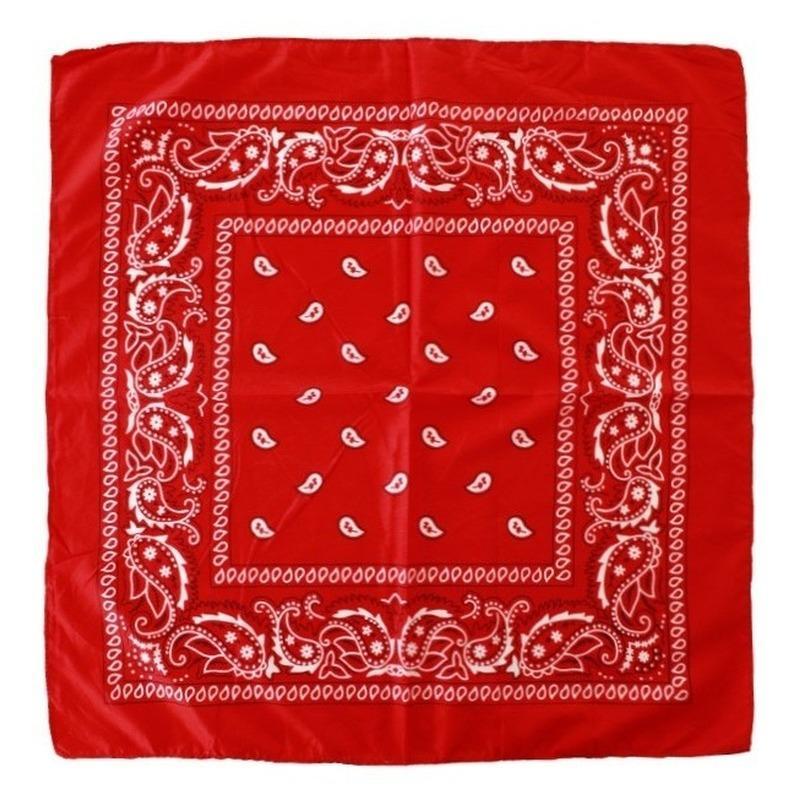 5x Budget rode boeren zakdoek 53 x 53 cm Rood