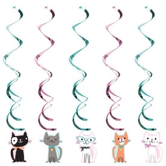 5x Katten/poezen feest hangdecoratie Multi