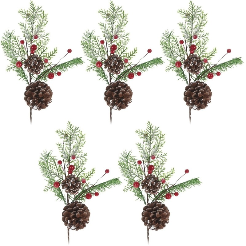 5x Kerststukje instekertjes 28 cm