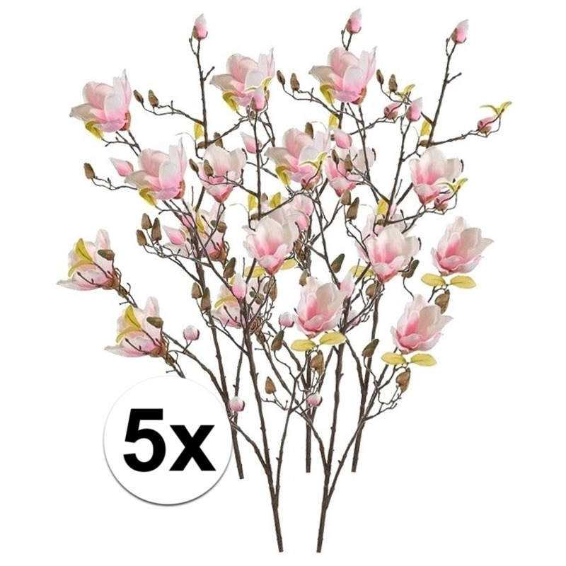 5x Roze Magnolia kunstbloem 105 cm