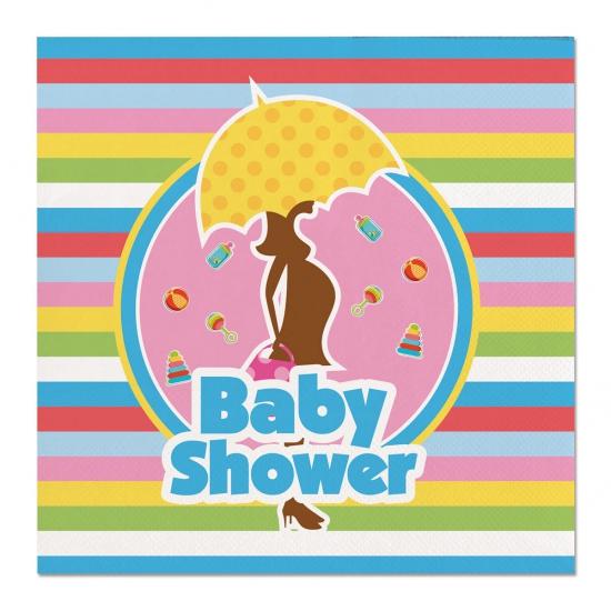60x Babyshower feest servetten gekleurd 25 x 25 cm kinderverjaardag Multi
