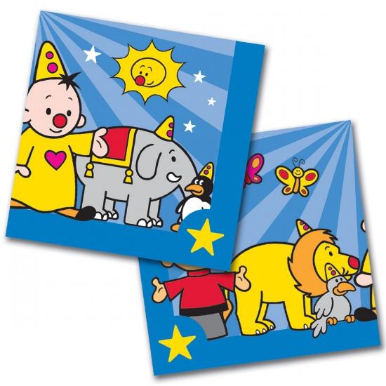 60x Bumba feest servetten blauw 33 x 33 cm kinderverjaardag Multi