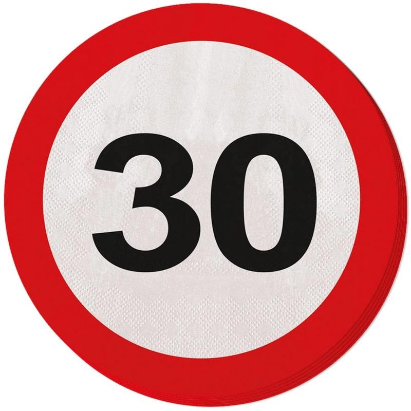 60x Dertig/30 jaar feest servetten verkeersbord 33 cm rond verjaardag/jubileum -