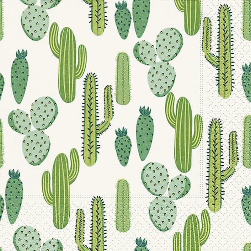 60x Feest servetten cactus 33 x 33 cm -