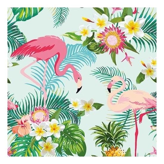 60x Feest servetten hawaii Flamingo 33 x 33 cm -
