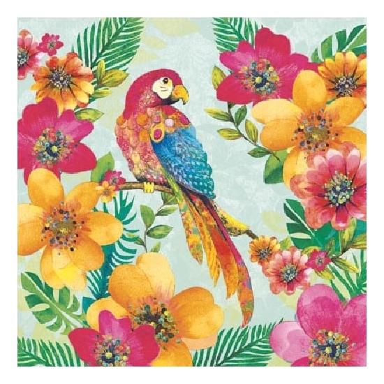 60x Servetten tropische papegaai print 3 laags -