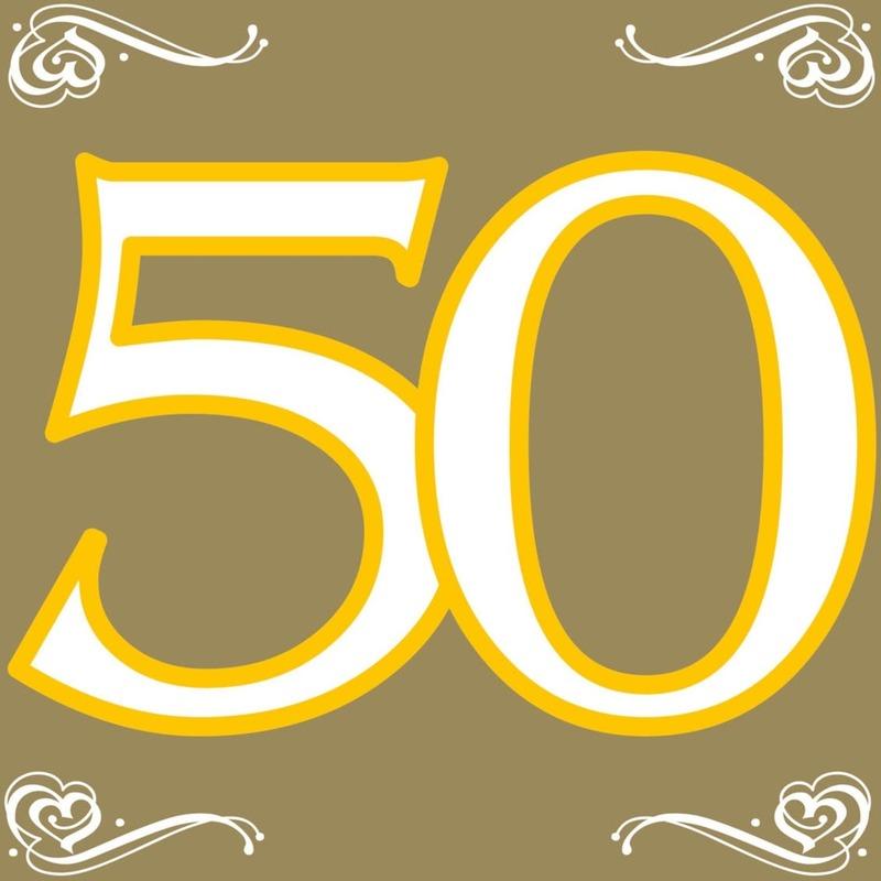 60x Vijftig/50 jaar feest servetten 33 x 33 cm verjaardag/jubileum -
