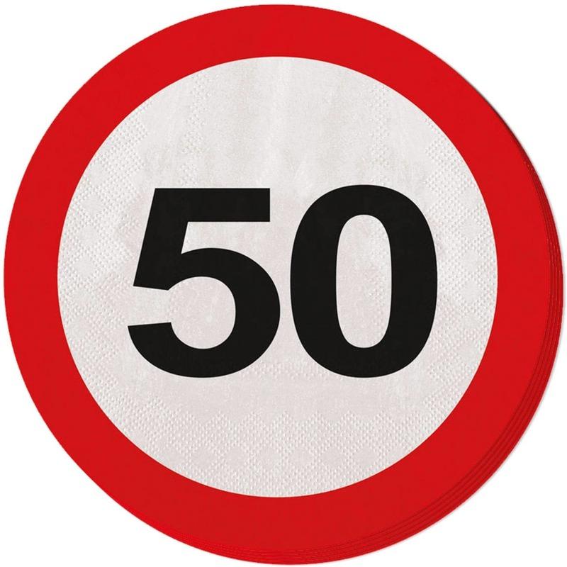 60x Vijftig/50 jaar feest servetten verkeersbord 33 cm rond verjaardag/jubileum -