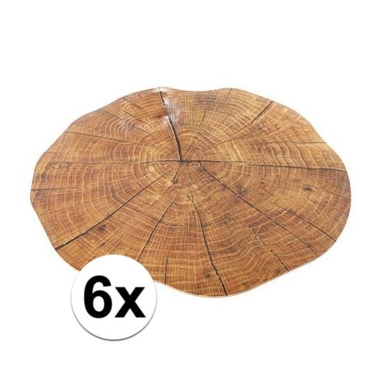 6x boomstronk onderlegger/placemat rond 38 cm