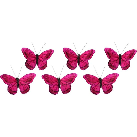6x Decoratie vlindertje fuchsia roze 9 x 11 cm op ijzerclip Fuchsia