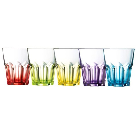 6x gekleurde glazen 300 ml