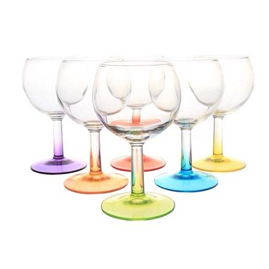 6x gekleurde wijnglazen 190 ml