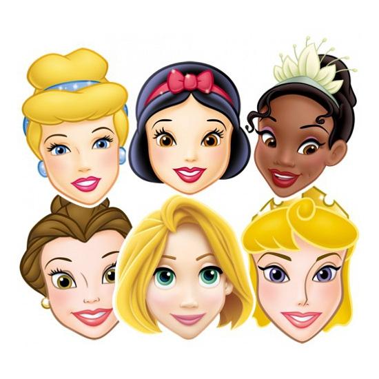 6x Gezichtsmaskers Disney Prinsessen figuren -