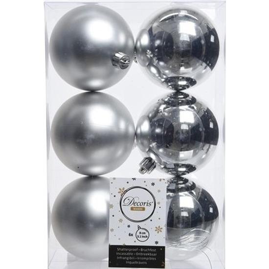 6x Kunststof kerstballen glanzend/mat zilver 8 cm kerstboom versiering/decoratie Zilver