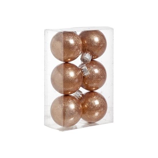 6x Kunststof kerstballen glitter koper 6 cm kerstboom versiering/decoratie Multi