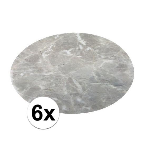 6x ronde placemat/onderlegger grijs marmer 38 cm