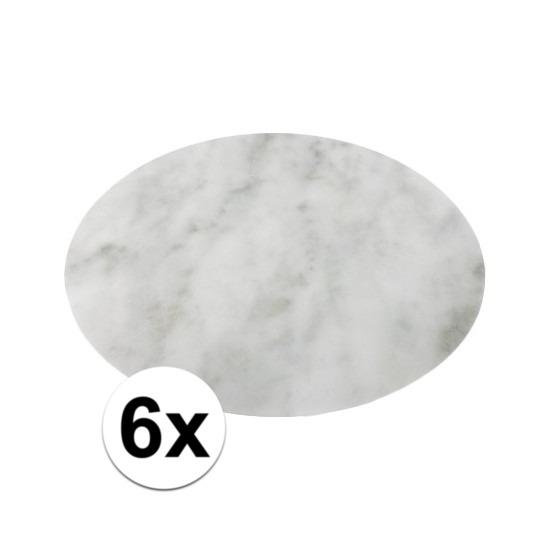 6x ronde placemat/onderlegger wit marmer 38 cm