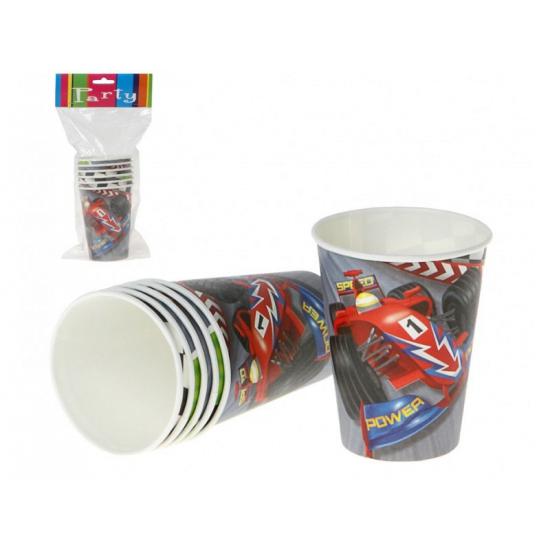 6x stuks Formule 1 race kinderverjaardag bekers van karton - Feestbekertjes