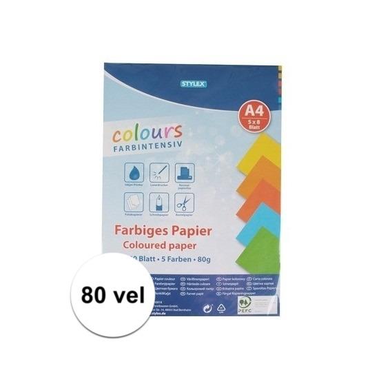 80 velletjes gekleurd tekenpapier A4 Multi