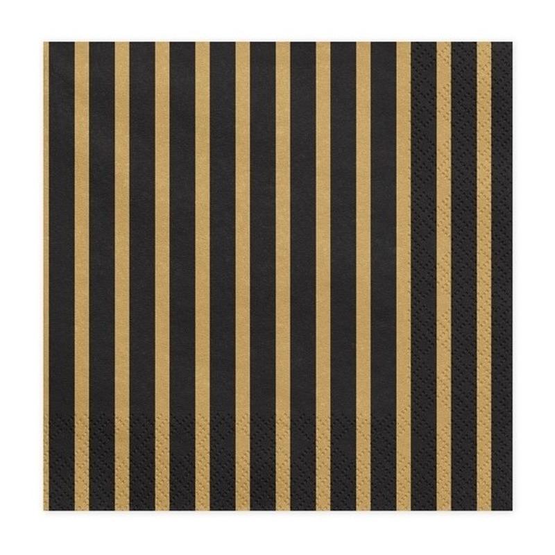 80x Zwart/goud gestreepte servetten 33 cm -