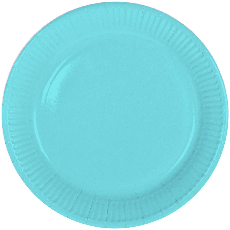 8x stuks party gebak/eet bordjes van papier lichtblauw 23 cm -