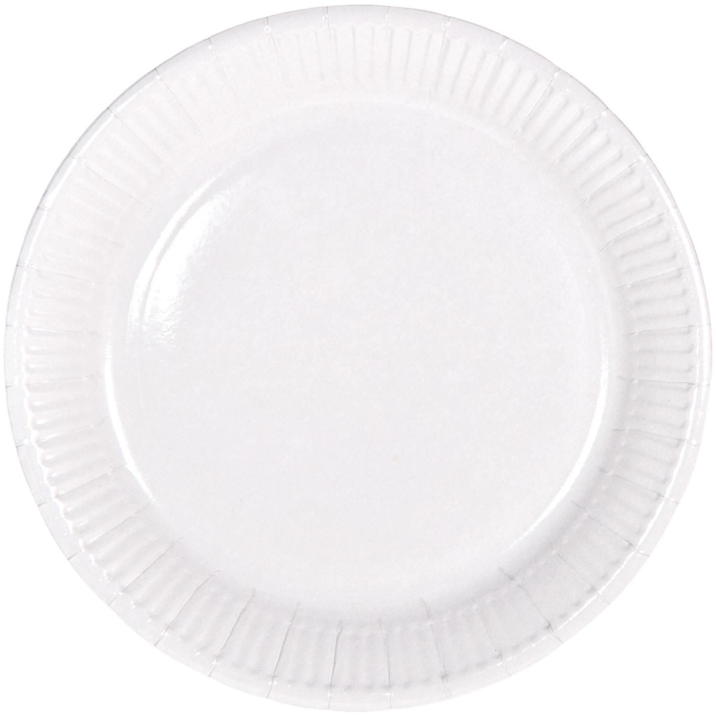 8x stuks party gebak/eet bordjes van papier witte 23 cm -