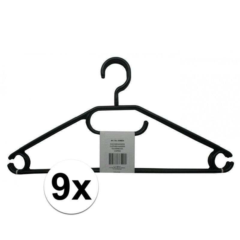 9x Voordelige zwarte kledinghangers plastic Zwart