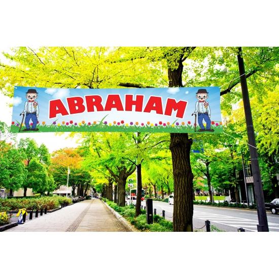 Abraham 50 jaar spandoek 200 cm Multi