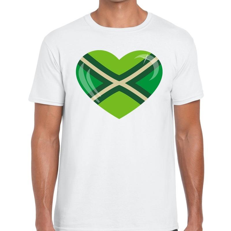Achterhoek t-shirt met hart bedrukking wit voor heren M -