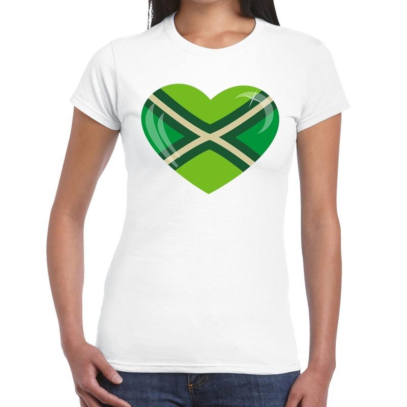Achterhoeks t-shirt met hart bedrukking wit voor dames M -