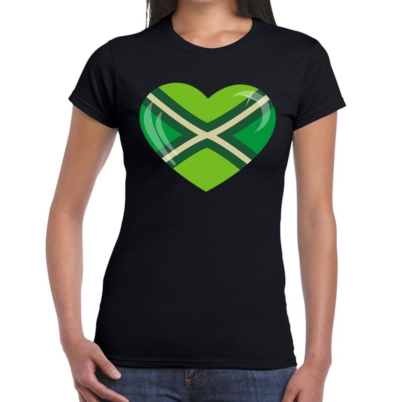 Achterhoeks t-shirt met hart bedrukking zwart voor dames M -