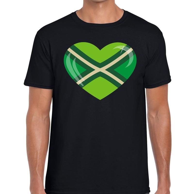 Achterhoeks t-shirt met hart bedrukking zwart voor heren XL -