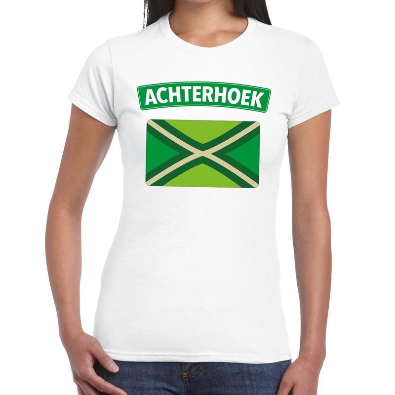 Achterhoeks t-shirt met vlag bedrukking wit voor dames M -