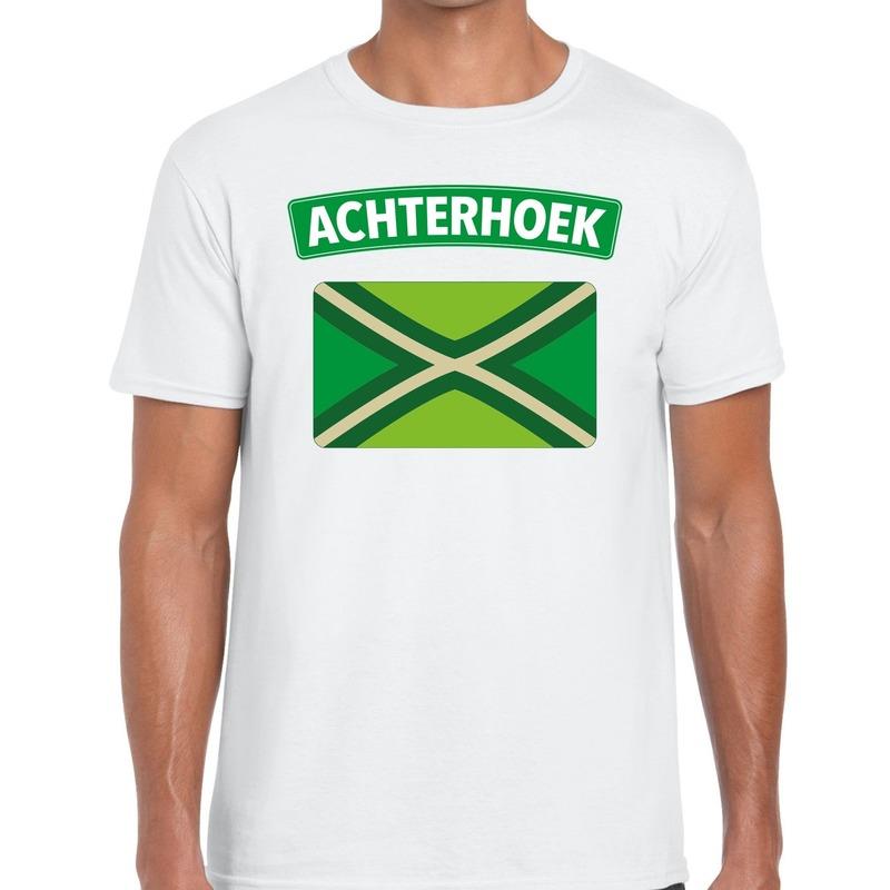 Achterhoeks t-shirt met vlag bedrukking wit voor heren XL -