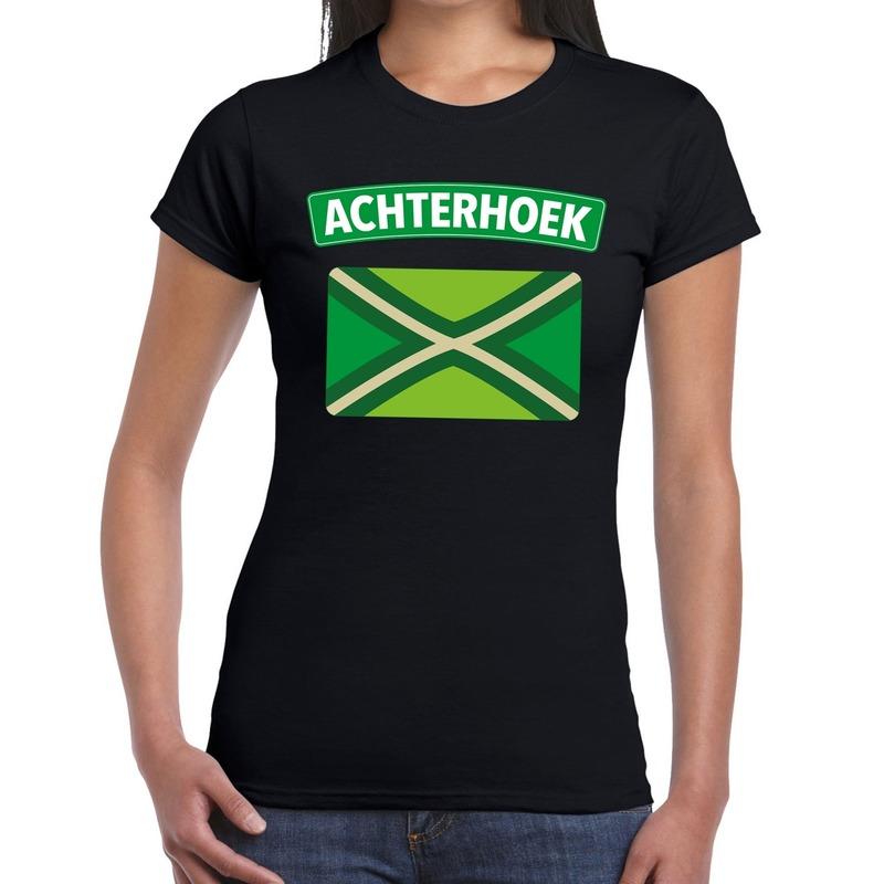 Achterhoeks t-shirt met vlag bedrukking zwart voor dames S -