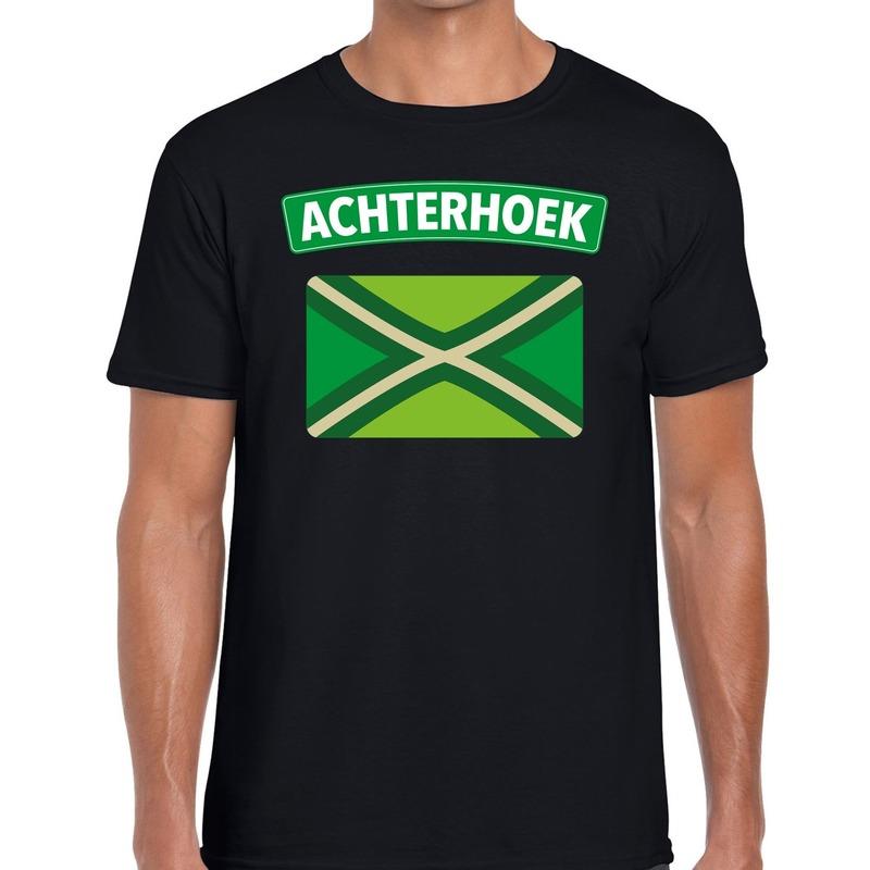 Achterhoeks t-shirt met vlag bedrukking zwart voor heren L -