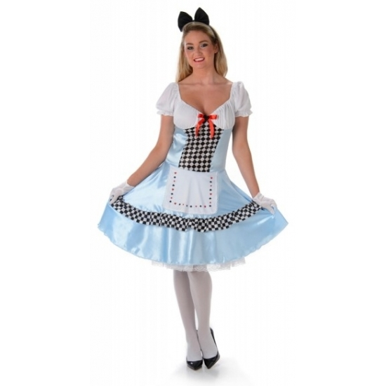 Alice jurk en zwarte strik tiara 42 (XL) Blauw