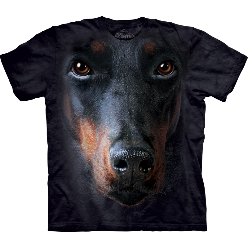 All over print t shirt met Doberman M Zwart