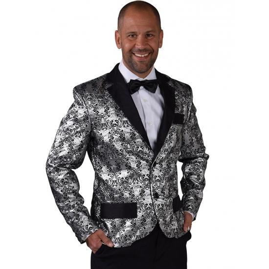 Barok colbert jasje zilver voor heren 60-62 (XL) Zilver