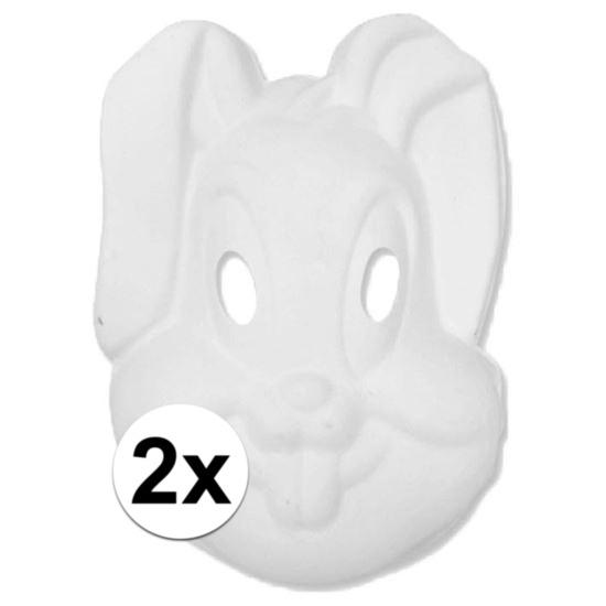 Basic wit konijnen/hazen masker 2 stuks Wit