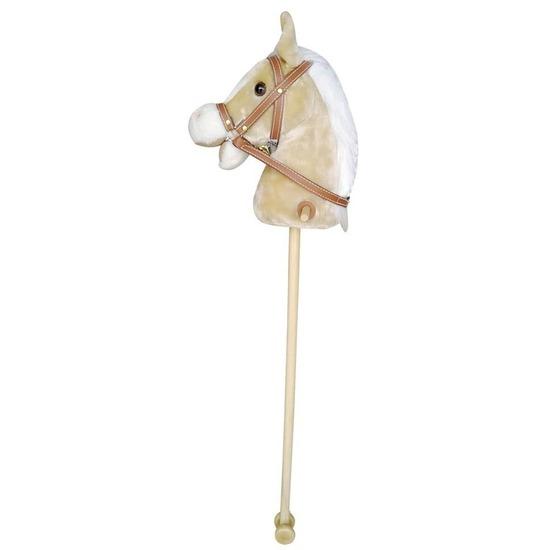 Beige stokpaard met beweging en geluid 97 cm