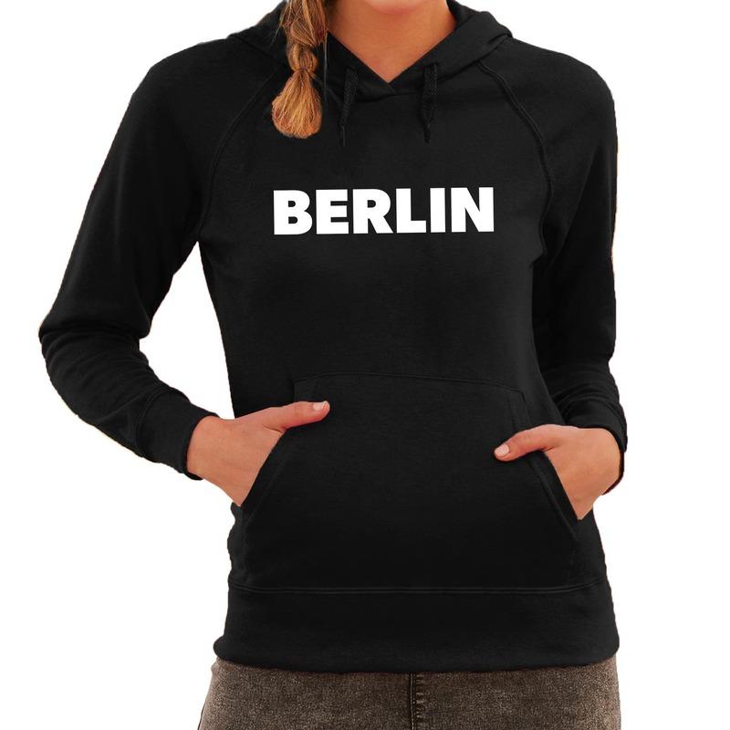 Berlijn hooded sweater zwart met Berlin bedrukking voor dames