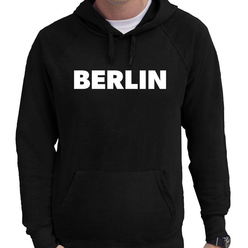 Berlijn hooded sweater zwart met Berlin bedrukking voor heren