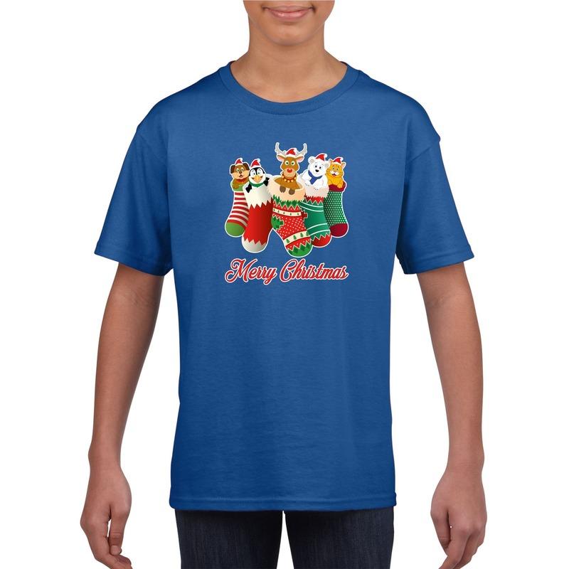 Blauw kerst shirt / kerstkleding Merry Christmas dieren kerstsokken voor kinderen 14-15 jaar (170/176) Blauw