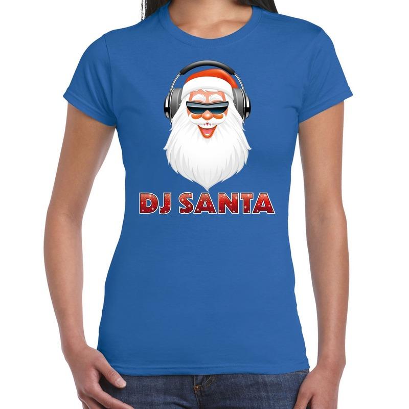 Blauw kerstshirt / kerstkleding DJ Santa met koptelefoon voor dames M Blauw